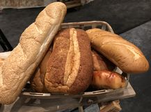Loaves of freshly baked bread. Downward close up photo of freshly baked loaves of bread royalty free stock photo
