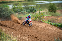 Lobashev Egor 778 Obninsk. MOSCOW, RUSSIA - SEPTEMBER 10, 2016: Lobashev Egor 778 Obninsk, class `Country Kidz`, in the 4 stage of the XSR-MOTO.RU Cross Country Stock Photos