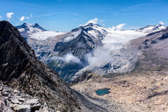 Lobbie and Mandrone glaciers Royalty Free Stock Images