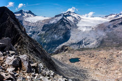 Lobbie and Mandrone glaciers Stock Photography