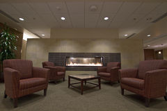 Lobby Area with Fireplace Stock Photos