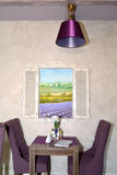 Lobby bar interior fragment with a picture of a lavandovy field. Lobby bar interior fragment with a picture of a lavanda field. Provence style. Hotel Stock Photography