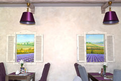 Lobby bar interior fragment with two pictures the lavandovykh of. Fields. Provence style. Interior Stock Photos