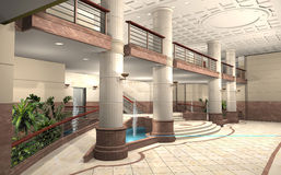 Lobby of a building. 3D rendering of a lobby Stock Photo