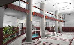 Lobby of a building in 3D. 3D rendering of a lobby Stock Images