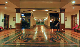 Lobby of a Clubhouse. For a luxury resort apartment in Asia in the evening Royalty Free Stock Photo