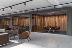 Vue de côté dun hall vide de bureau avec les murs en bois et gris