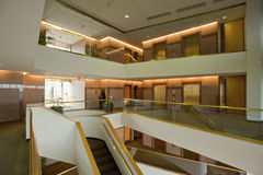 Lobby entrance. In multi levels to a modern office building Stock Images