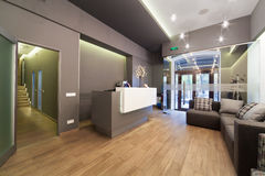 Lobby entrance with reception desk in a dental clinic. Stock Images