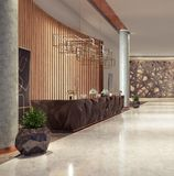 Lobby entrance with reception desk and lounge area Stock Image