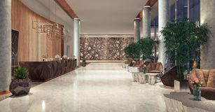 Lobby entrance with reception desk and lounge area Stock Photography