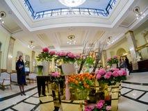 Lobby et réception d'hôtel de Metropol à Moscou, Russie Photographie stock