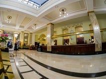 Lobby et réception d'hôtel de Metropol à Moscou, Russie Images libres de droits
