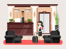Lobby hall hotel. Interior room, indoor reception service, tourist waiting illustration Royalty Free Stock Photography