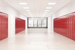 Lobby of high school. High school lobby with red shiny lockers. Fitness Gym. Concept of studying and getting knowledge. 3d rendering Stock Images