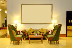 Lobby interior of the luxury hotel in night illumination Stock Photo