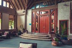 Lobby interior of luxury hotel reception. Luxury hotel reception interior . lobby interior of hotel hall. Interior of tropical hotel lobby, travel background stock photography