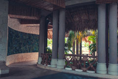 Lobby interior of luxury hotel reception. Luxury hotel reception interior . lobby interior of hotel hall. Interior of tropical hotel lobby, travel background stock images