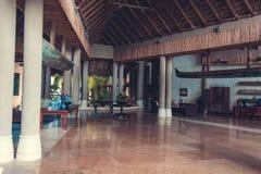 Lobby interior of luxury hotel reception. Luxury hotel reception interior . lobby interior of hotel hall. Interior of tropical hotel lobby, travel background stock image