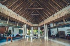 Lobby interior of luxury hotel reception. Tropical resort hall, travel background stock photo
