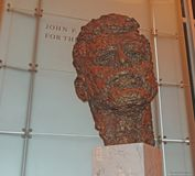 The Kennedy Center, Washington, DC. Lobby of the Kennedy Center in Washington, DC.where many types of shows perform. Here is sculpture of John F. Kennedy in the stock images