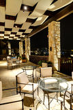 The lobby in luxury hotel in night illumination Royalty Free Stock Photos