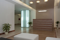 Lobby of a modern building. Lobby with furniture. Modern building Stock Image