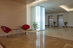 Lobby of a modern building. Lobby with furniture. Modern building Royalty Free Stock Photos