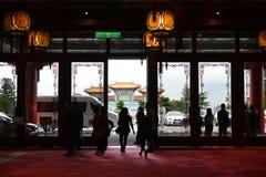 Lobby- och ingångsområde av det storslagna hotellet i Taipei, Taiwan arkivbild