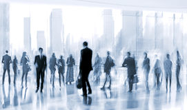 Lobby in the rush hour. Is made in the manner of blur and a blue tonality Royalty Free Stock Photography
