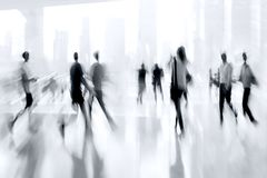 Lobby in the rush hour. Is made in the manner of blur and a blue tonality royalty free stock image