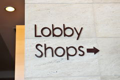 Lobby and shops signage Stock Photos