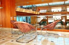Lobbygarnering i lyxigt hotell Arkivbild