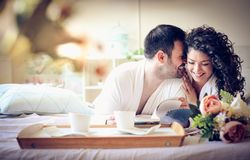 Lobe you baby. Couple at morning. Family time stock photo