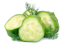 Lobes of a cucumber with  fennel Royalty Free Stock Photos