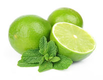 Lobes of  lime with mint Royalty Free Stock Image