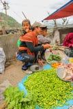 Lobesa村庄, Punakha,不丹- 2016年9月11日:有他的婴孩的未认出的人在每周农夫市场上 免版税图库摄影