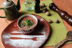 Lobio - a dish of Georgian cuisine. The food in a clay pot stock photography