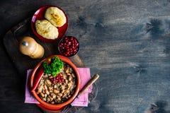 Lobio georgiano tradicional del plato foto de archivo libre de regalías