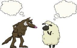 Lobo contra carneiros ilustração stock