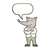 lobo de la historieta en camisa con la burbuja del discurso Fotos de archivo libres de regalías