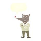 lobo de la historieta en camisa con la burbuja del discurso Imagen de archivo