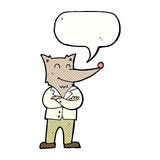 lobo de la historieta en camisa con la burbuja del discurso Imagenes de archivo