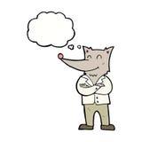 lobo de la historieta en camisa con la burbuja del pensamiento Imagen de archivo