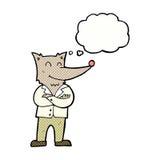 lobo de la historieta en camisa con la burbuja del pensamiento Fotografía de archivo