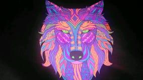 Lobo de neón Fotografía de archivo libre de regalías