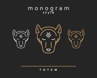 Lobo del monograma Wolf Totem Un sistema de lobos cones monograma libre illustration