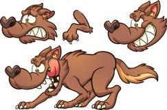 Lobo dos desenhos animados de Brown com expressões diferentes ilustração royalty free