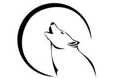 Lobo e lua Imagens de Stock