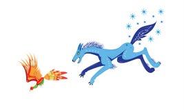 Lobo e pássaro ou inverno e outono. ilustração do vetor